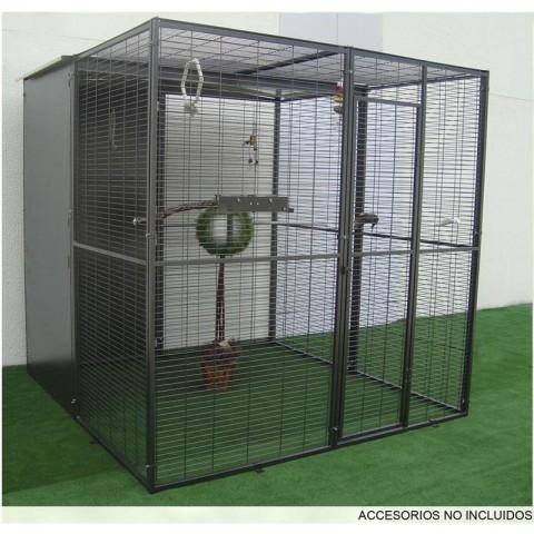 VOLADERO PARA LORO 4 m2 (TECHO MIXTO A DOS AGUAS Y MALLA)